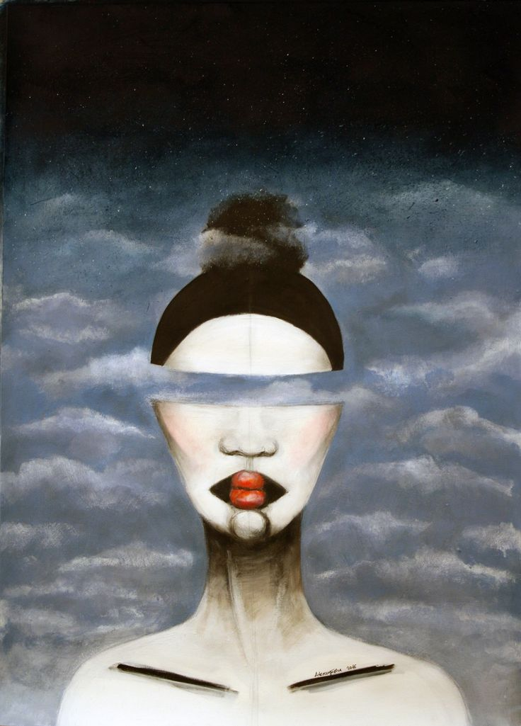 With head in the clouds, 50x70cm, acrylic on paper, 2016, painting, portrait, clouds, lips, head, art, face