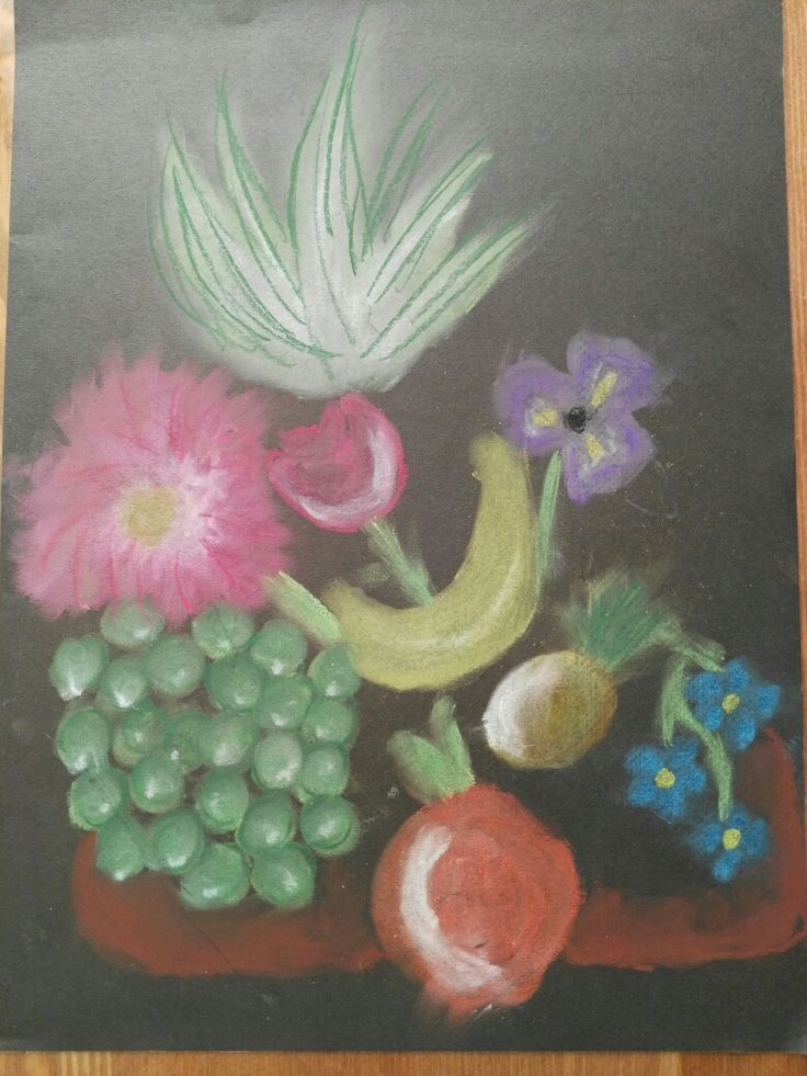 A picture of my 10-year-old daughter made with dry pastels.
