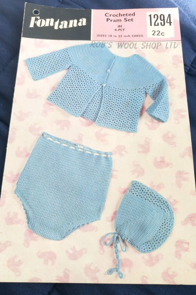 Crochet Pram Set Fontana 1294 vintage pattern 4 ply yarn #Fontana