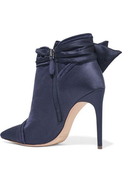 Alexandre Birman - Liz Suede-trimmed Embellished Satin Ankle Boots - Navy