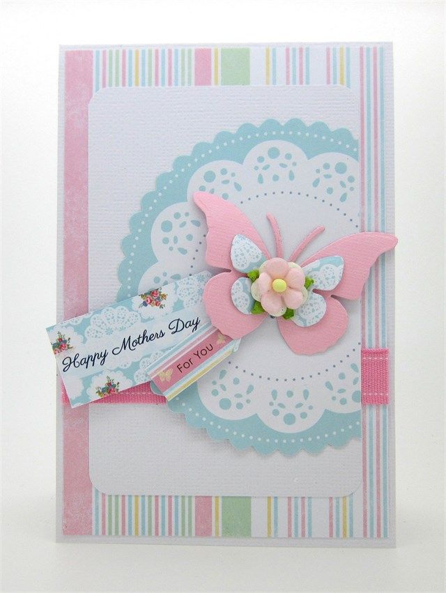 Handmade Mother's Day Butterfly Card.