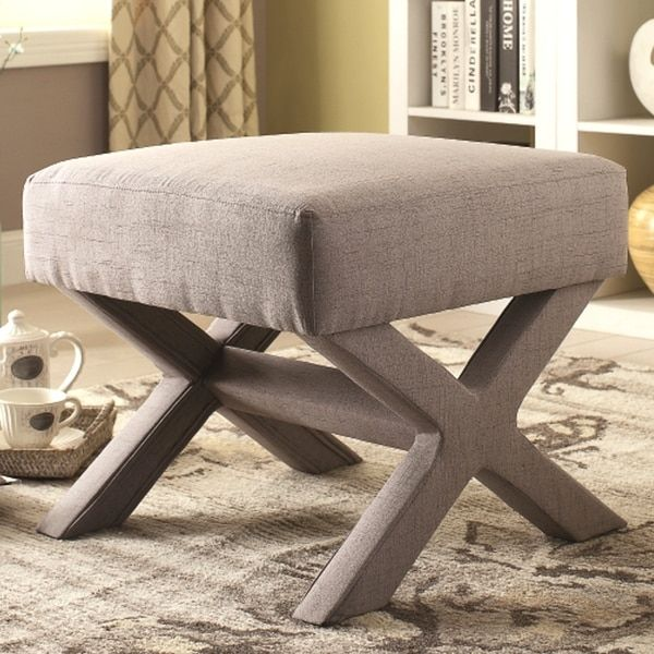 Lovely Rondo Living Room Grey Upholstered Ottoman Bench