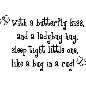 With a butterfly kiss and a ladybug hug, sleep tight little one