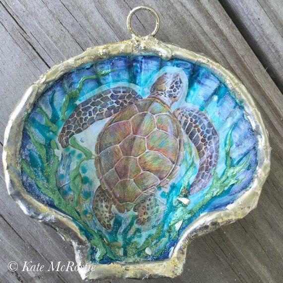 Seaturtle ornament  shell ornament  by KateMcRostieHandmade