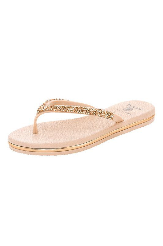 Beige Flip Flops with Faux Gold Jewel Accents