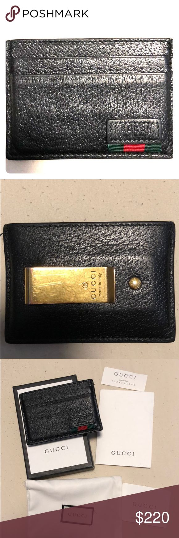 Gucci Mens wallet with Money Clip It has been lightly used.  Has all the original packaging (wallet, box, dust bag, tags) Gucci Accessories