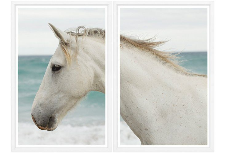 White Horse on Beach Diptych