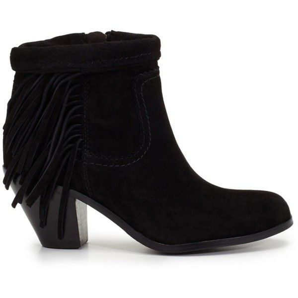 SAM EDELMAN Louie Black Boots ($280) ❤ liked on Polyvore featuring shoes, boots, black, cuban heel boots, cuffed ankle boots, kohl boots, black cowboy boots and tassel shoes