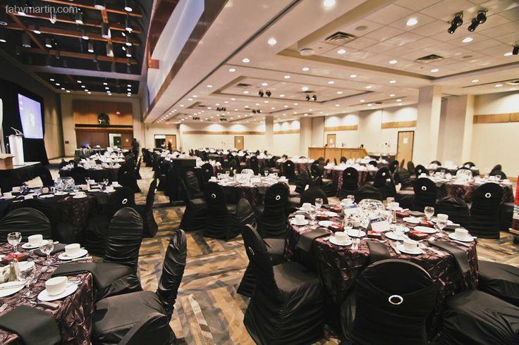 Elegant ballroom, room decor, table and chair decor