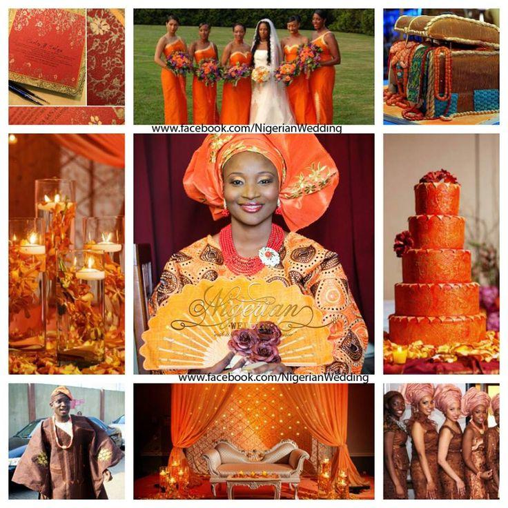 Orange, gold and brown wedding color scheme | Wedding