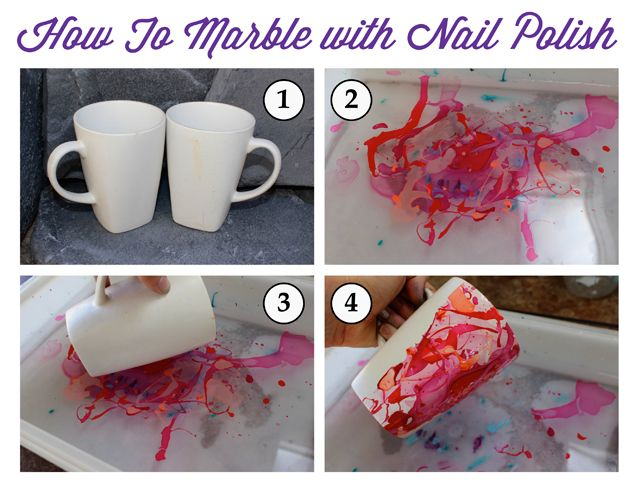 DIY Nail Polish Marble Mug- nail polish marbling marbled upcycled mugs - SohoSonnet For My Crafty Spot
