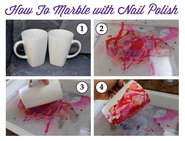 DIY Nail Polish Marble Mug- nail polish marbling marbled upcycled mugs - SohoSonnet For My Crafty Spot