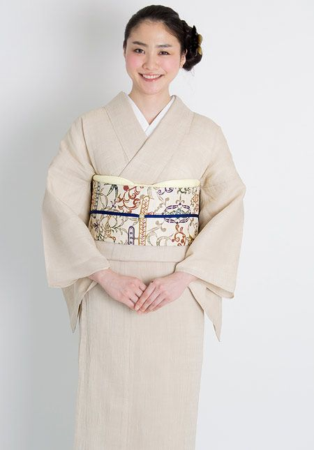 くるり 涼きもの 【上布 極上】白茶 綿・麻・ウールの着物 着物屋くるり