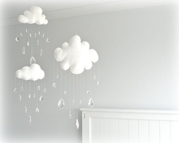 Cloud mobiles  nursery decor  White clouds  by LullabyMobiles,