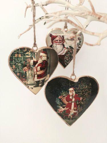 Conjunto-de-3-Vintage-Victoriano-Padre-Navidad-Santa-Tree-Decoraciones-Corazones-De-Metal