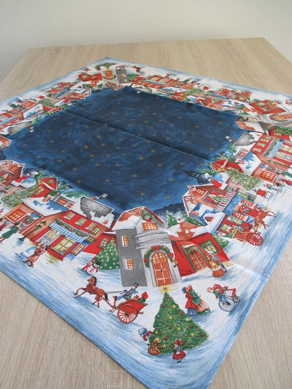 Scandinavian Village Christmas Tablecloth 30 Square Christmas Table Cloth Christmas Linen Square Tablecloth
