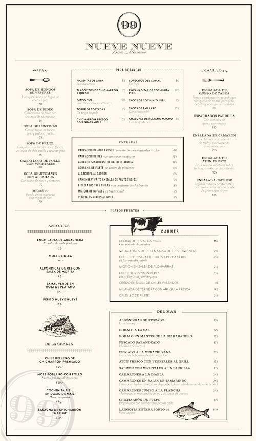#menu Nueve Nueve  Mexico City, Mexico         DESIGNED BY ALEJANDRA ASTIAZARÁN.  Named for the address where it resides, Nueve Nueve is a Mexican bistro located in the famous Casa Lamm Cultural Center. Combining a travel theme with classy typography, their menu gives us a birds-eye view of worldly style.