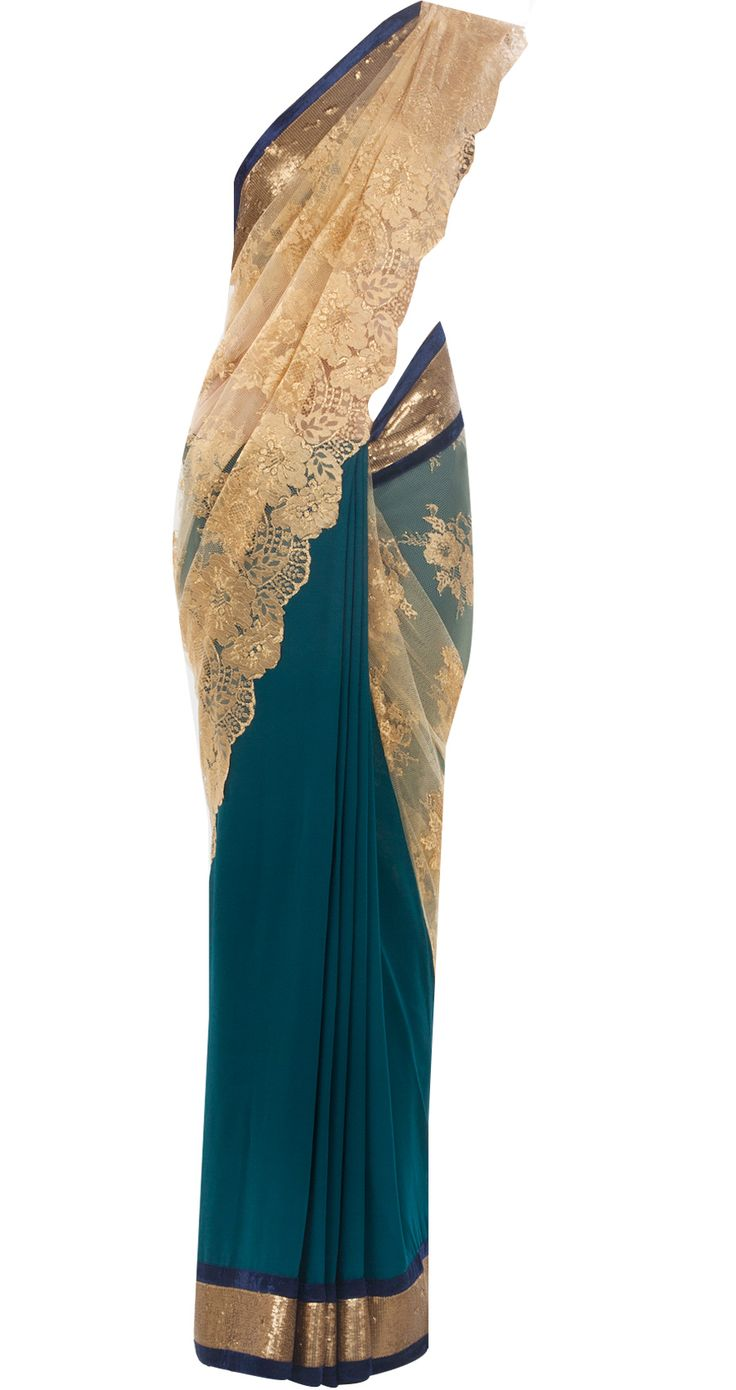 Teal and gold chantilly lace sari by VARUN BAHL. Shop at http://www.perniaspopupshop.com/whats-new/varun-bahl-6915