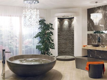 Chandeliers in the bathroom, maybe not practical but it's stunning!