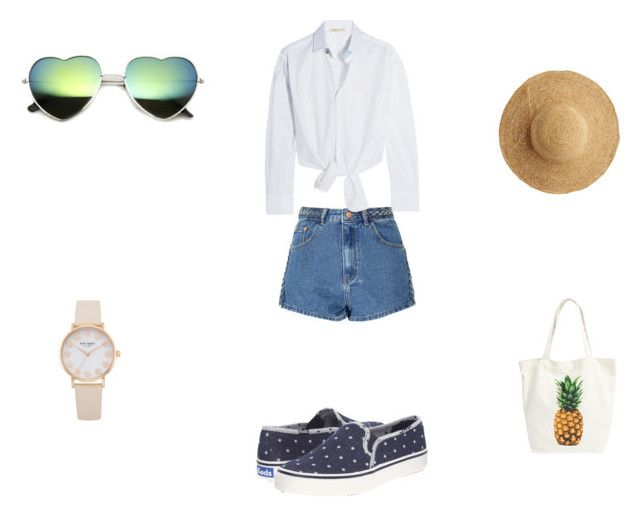 summer outfit by pati48124 on Polyvore featuring moda, Maje, Glamorous, Keds, BP. and Flora Bella