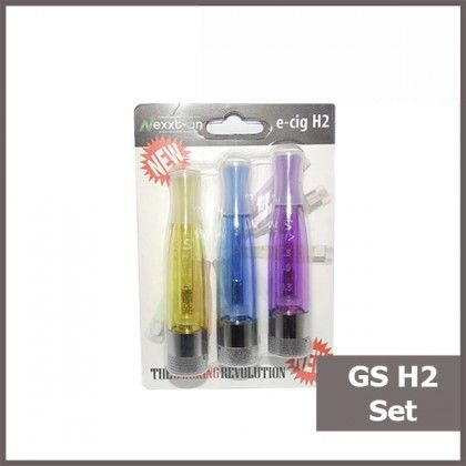 GS H2 Colorful Clearomizer Blister Set 3pcs. Find out more in www.nexxton-ecig.com.