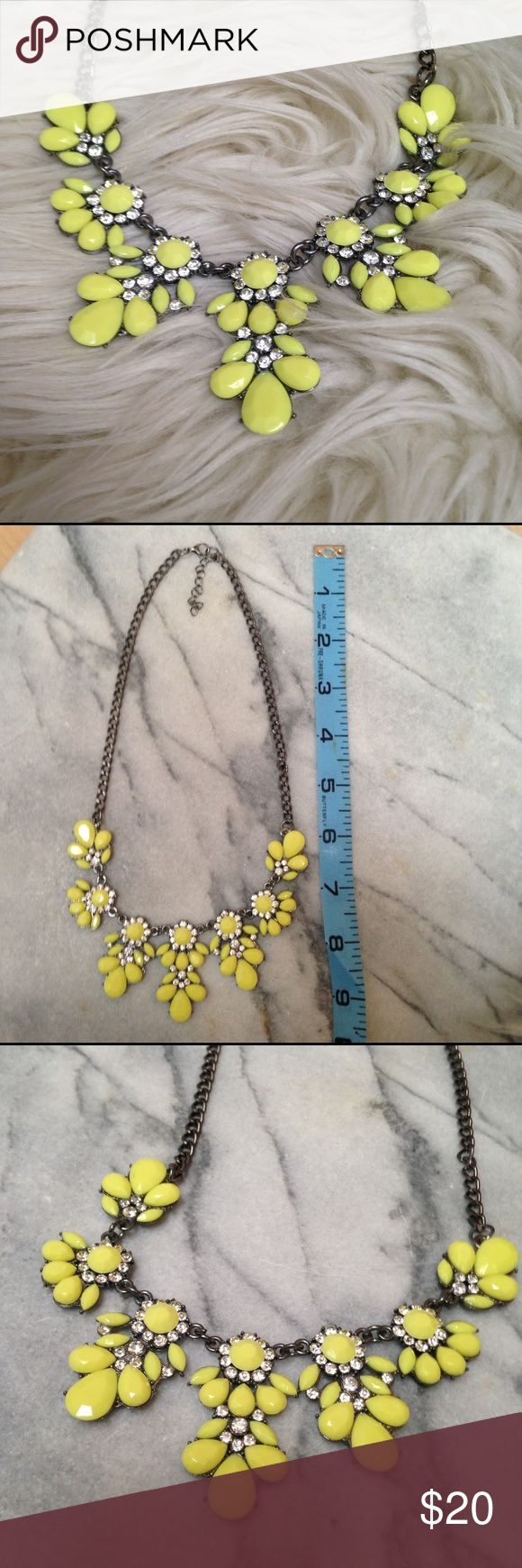 Neon yellow statement necklace w e l c o m e  t o  m y  c l o s e t   Neon yellow jewel crystal statement necklace with lobster clasp closure.  excellent used condition - worn once.  Approx 9in long.  All reasonable offers welcomed.                    question/unsure? Comment below  🚫TRADES thanks .                                                                   Thank you for stopping by 💕 Jewelry Necklaces