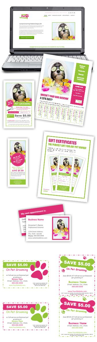 DIY Dog grooming business marketing & advertising projects that only cost pennies to implement! http://www.petgroomingmarketingkit.com/pet-dog-grooming-business-advertising-marketing-templates-forms-groomer.html