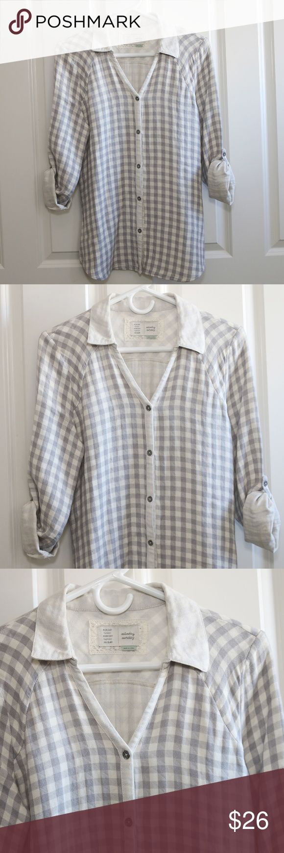 Anthropologie Saturday Sunday Plaid Flannel Shirt Anthropologie Saturday Sunday quilted flannel type shirt.  Button up.  Gray and cream plaid.  Sleeves roll up / can be worn up or down.  Not a super thick shirt.  Very soft.  Size Small.  About 19 inches from armpit to armpit.  About 27 inches from shoulder to hem.  Worn once.  A few small pricks in the fabric, a small snag shown in the pictures (on the back, bottom hem).  No stains. Anthropologie Tops Button Down Shirts