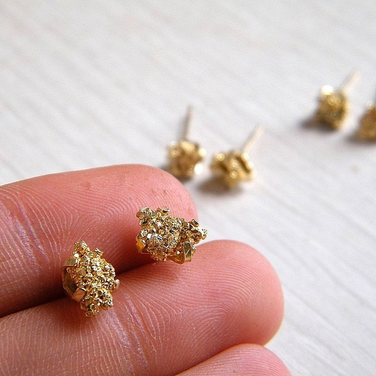 Gold nugget earrings raw pyrite earrings raw gemstone for Jewelry made from kidney stones