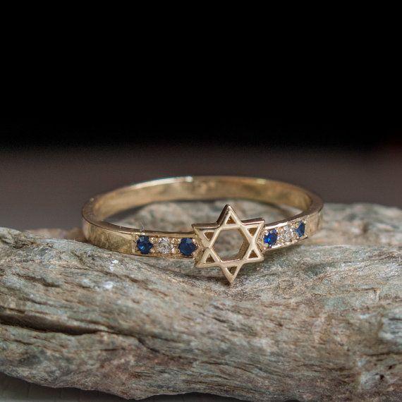 Joodse ster Ring met saffieren  Magen david jewelry  door ARDONN