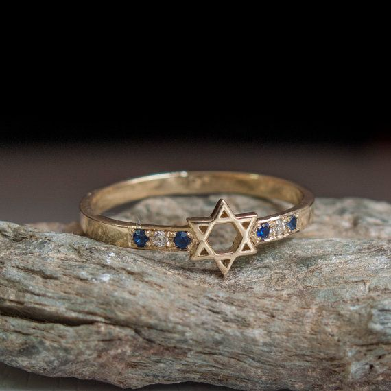 Jewish Star Ring with Sapphires Magen david jewelry by ARDONN