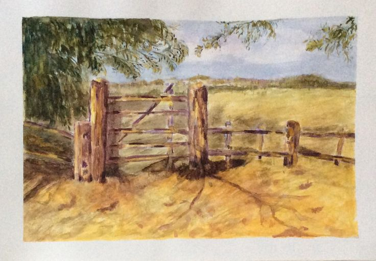 Fence watercolor