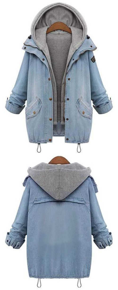 Amazing, Cupshe gives you warmer season~ Attactive Price & Free Shipping! Outfits can be polished and super stylish as you image. Featuring Raglan sleeve and Zipper & Button at front, this denim two-piece coat should be a part of your world! Shop now~