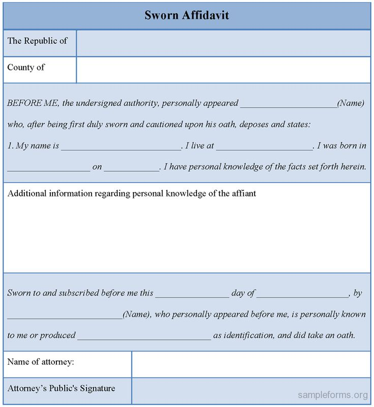 Sworn Affidavit Form sworn affidavit form – Signed Affidavit Template