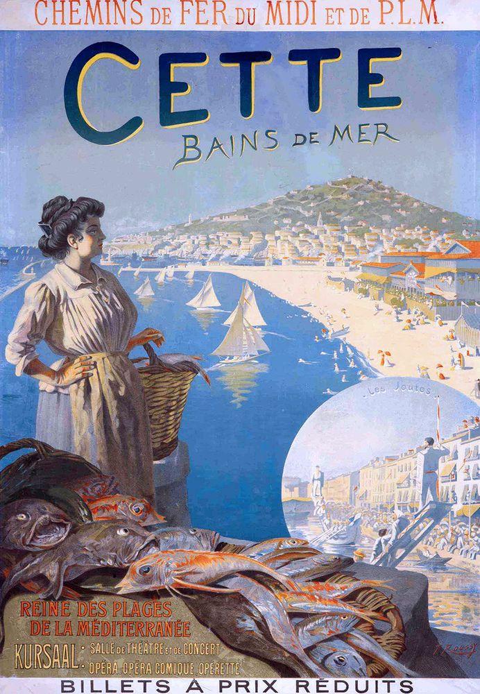 Affiche chemin de fer du midi et plm cette bains de mer ville de s te 1900 toussaint for Poster et affiche
