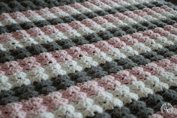 Puff Shell Crochet Stitch Three Colors Baby Blanket