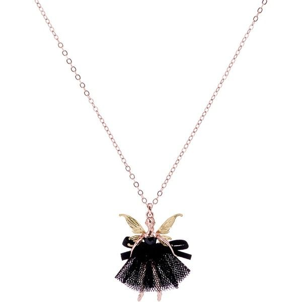 Ted Baker Faylinn Mini Fairy Ballerina Pendant Necklace (£45) ❤ liked on Polyvore featuring jewelry, necklaces, long necklace, long necklace pendant, adjustable necklace, white gold chain necklace and long chain necklace