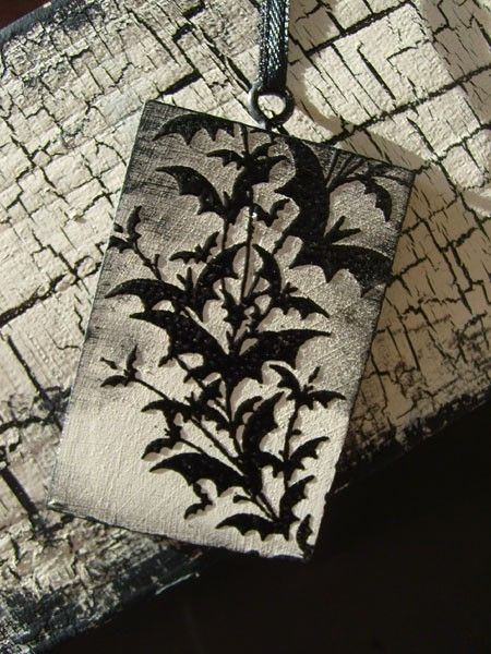 Halloween Folk Art Wood Ornament Flurry of Bats Silhouette on etsy