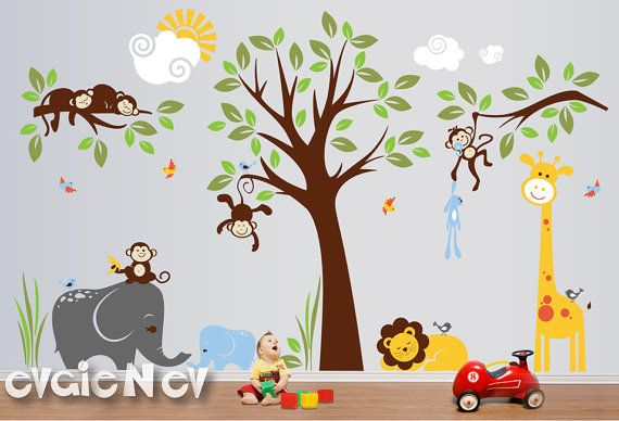 """Design your room, hallway, classroom, gym, reading corner with large bright all favorite Monkeys hanging on a tree, elephants, sleeping lion, giraffe and birds: 146""""w x 90""""h. Comes with test decal. Removable. Just peel and stick! Free test decal is included. #WallDecals"""
