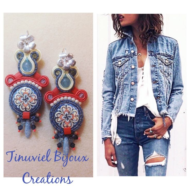 Soutache earrings with lava ceramic