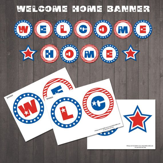 INSTANT DOWNLOAD - Printable Welcome Home Banner - Red, White and Blue - Stars and Stripes Welcome Home Sign