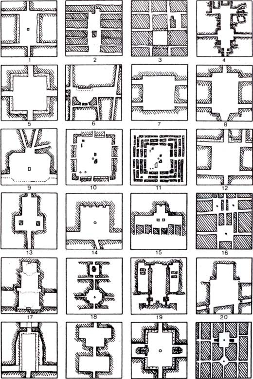 Orthogonal plans for squares Rob Krier, Typological & morphological elements of the concept of urban space, London, AD and Acroshaw Ltd 1979, p.9.