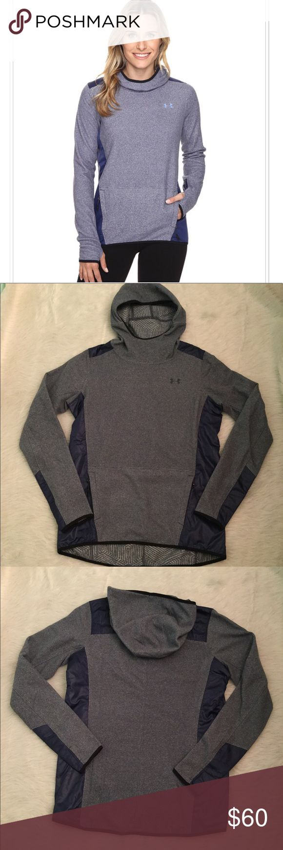 NWT under Armour Survivor Fleece Pullover Fleece pullover by Under Armour in Faded Ink (Blue).  Features a relaxed fit for ultimate comfort and unrestricted mobility.  ColdGear Infrared technology utilized a soft, thermo-conductive inner coating to absorb and retain body heat.  Attached 3 panel hood with a scuba neckline.  Long sleeve with thumb hole accents at cuff.  Zippered hand pockets offer secure storage solutions.  Curved hemline drops at back fo more coverage. 100% polyester. Under…