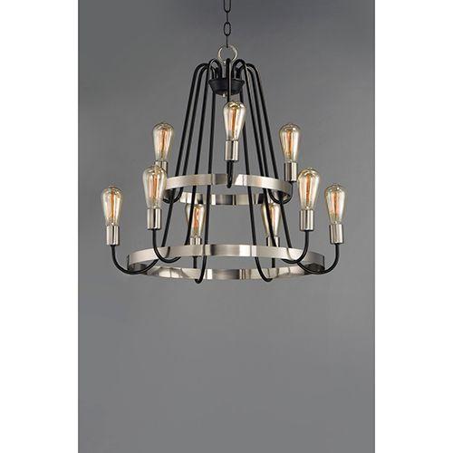 Maxim Lighting International Haven Black and Satin Nickel 27-Inch LED Chandelier