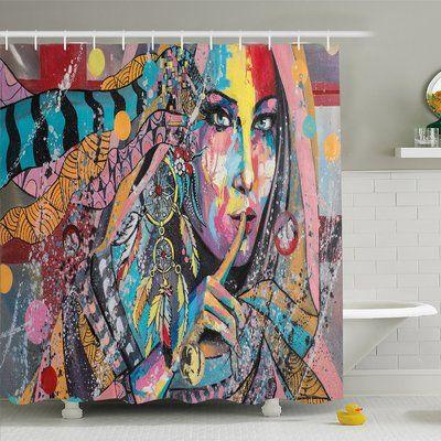"Ambesonne Modern Art Home Talisman Girl with Indian Dreamcatcher and Tribal Murky Boho Paint Shower Curtain Set Size: 75"" H x 69"" W x 1"" D"