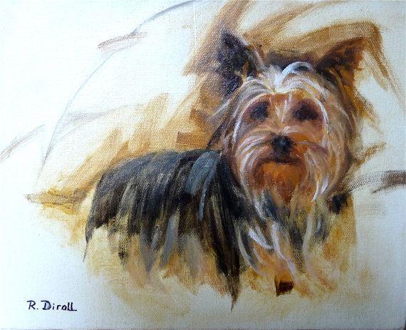 Original Oil Painting Yorkshire Terrier Dog by RenateDiroll, $165.00