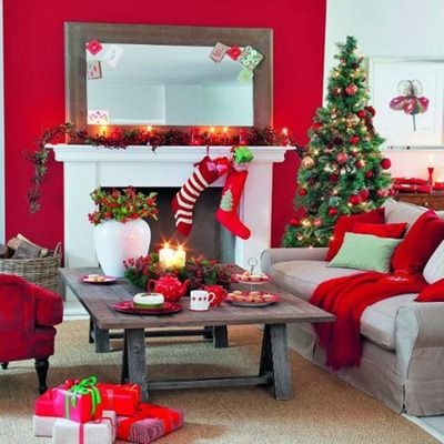 Red Walls, Inspiration For The Dollhosue: 55 Wonderful Christmas Living Room  Décor Ideas: 55 Dreamy Christmas Living Room Décor With White Red Sofa  Table ...