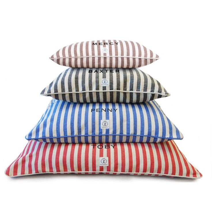 """Our vintage-inspired striped dog bed covers have serious nostalgic appeal. Fitted for our envelope inserts, each durable dog bed cover is machine washable and comes preshrunk for a perfect fit.    Small Dog Bed Cover 24"""" X 30"""" Medium Dog Bed Cover 30"""" X 36"""" Large Dog Bed Cover 36"""" X 44""""  Personalization Information  *Font is capitalized.*Up to 15 characters (including spaces)*Allow up to"""