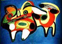 Tachismo: Karel AppelFundador do Grupo Experimental e co-fundador do Grupo COBRA, Karel Appel desenvolve uma artelivre, que se opõe à repressão dos anos da Segunda Guerra Mundial. Suas pinturas, esculturas e gravuras são resultado da experimentação de novas técnicas, nas quais predominam a espontaneidade e o imediatismo do processo de criação; uma oposição ao excesso de teoria e de métodos presentes na arte européia da época.