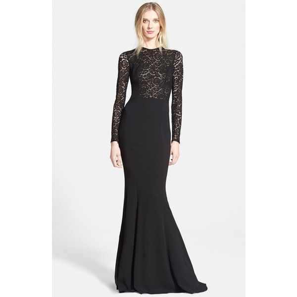 Women's Michael Kors Illusion Lace Crepe Cady Fishtail Gown ($3,435) ❤ liked on Polyvore featuring dresses, gowns, crepe dress, lace dress, lacy dress, below the knee dresses and michael kors gowns